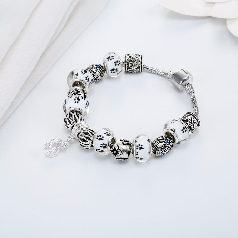 Dog Footprint Charm Beads