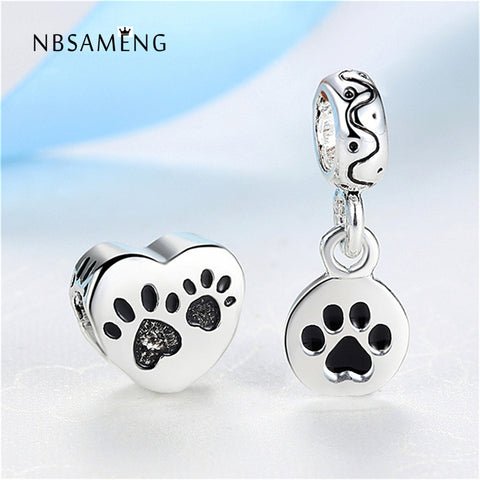 2pcs Dog Doggie Footprint Silver Plated Beads Charm For Bracelet & Bangle Jewelry