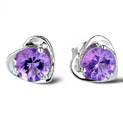 Retro Heart Shaped Silver fashion Earrings With Purple Crystal