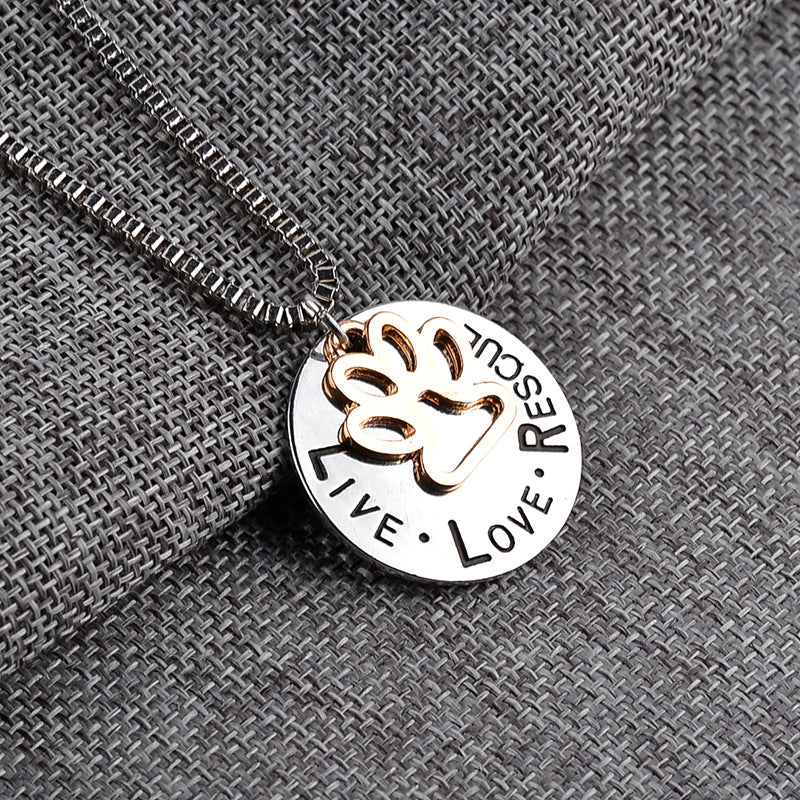 Live Love Rescue letter necklace