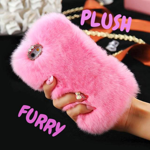 Plush Rabbit Fur Furry Shell Case for iPhone 7 7Plus Case X iPhone 6 6s 8 Plus 5s SE