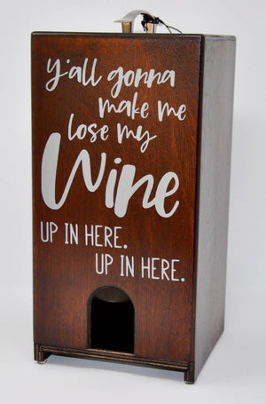 Vino Chateau Boxed Wine Cover Lose My Mind Up in Here for Black Box, Bota Box or any 3 Liter Boxed Wine