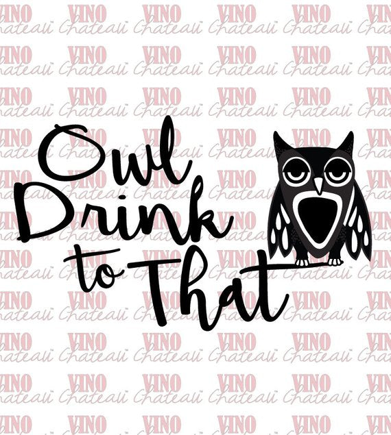 Vino Chateau Boxed Wine Cover Owl Drink to That for Bota Box, Black Box or any 3 Liter Boxed Wine