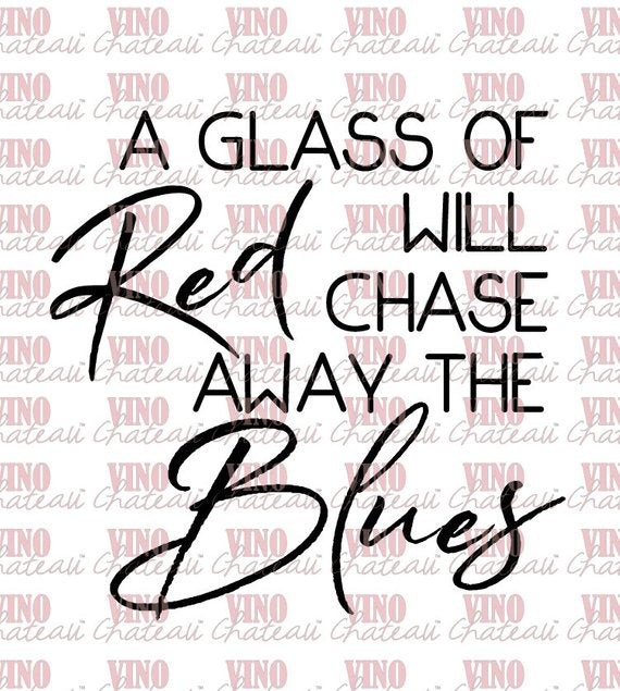 Vino Chateau Boxed Wine Cover Glass of Red Chase Blues for Black Box, Bota Box or any 3 Liter Boxed Wine