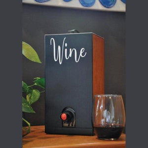 Vino Chateau Boxed Wine Cover with Chalkboard Front and Vinyl Script for Black Box, Bota Box or any 3 Liter Boxed Wine.