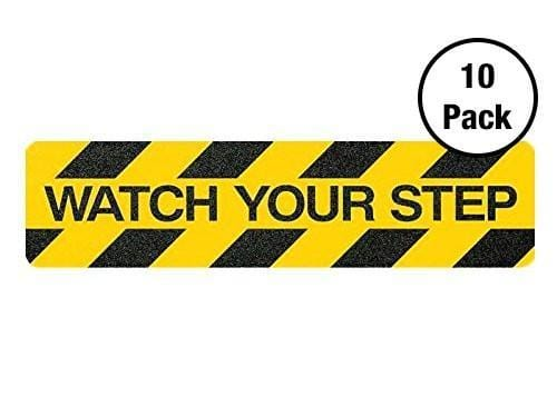 Kwiksafety 6X24 Black&yellow Adhesive Caution Anti Slip Tread Pack 10 / Watch Your Step Home