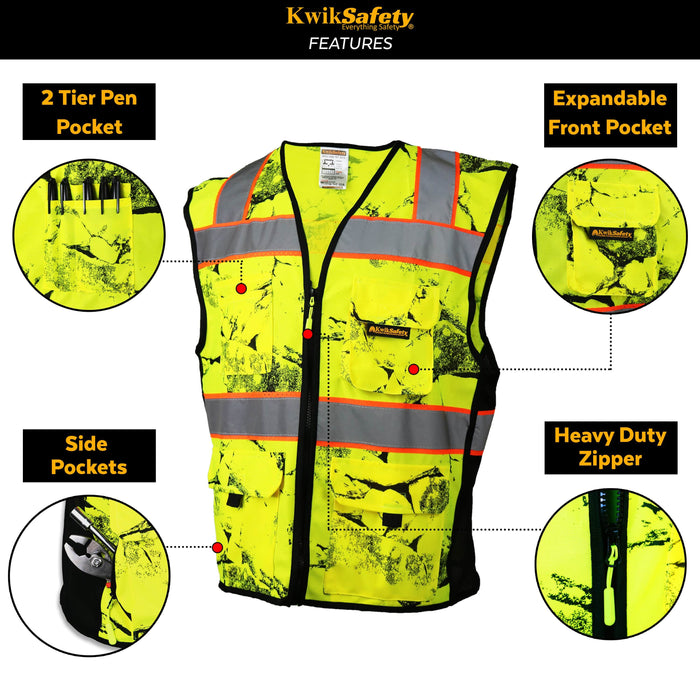 KwikSafety UNCLE WILLY'S WALL High Visibility Reflective ANSI Class 2 Safety Vest