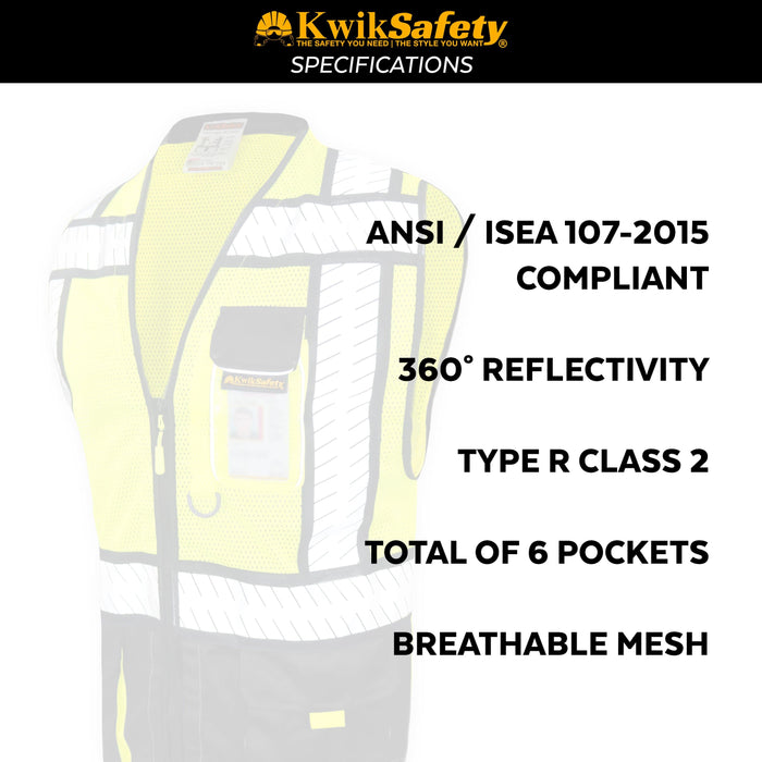 CLEARANCE! KwikSafety SPECIALIST | ANSI Class 2 Fishbone Safety Vest (Old Sizing)