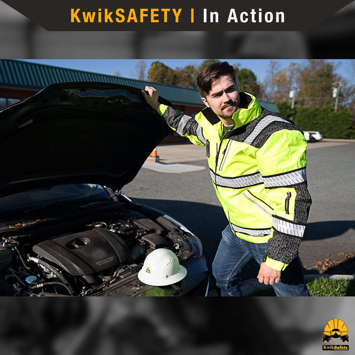 KwikSafety UNIVERSE Class 3 Bomber Safety Jacket ANSI OHSA Hi Vis PPE Gear - KwikSafety