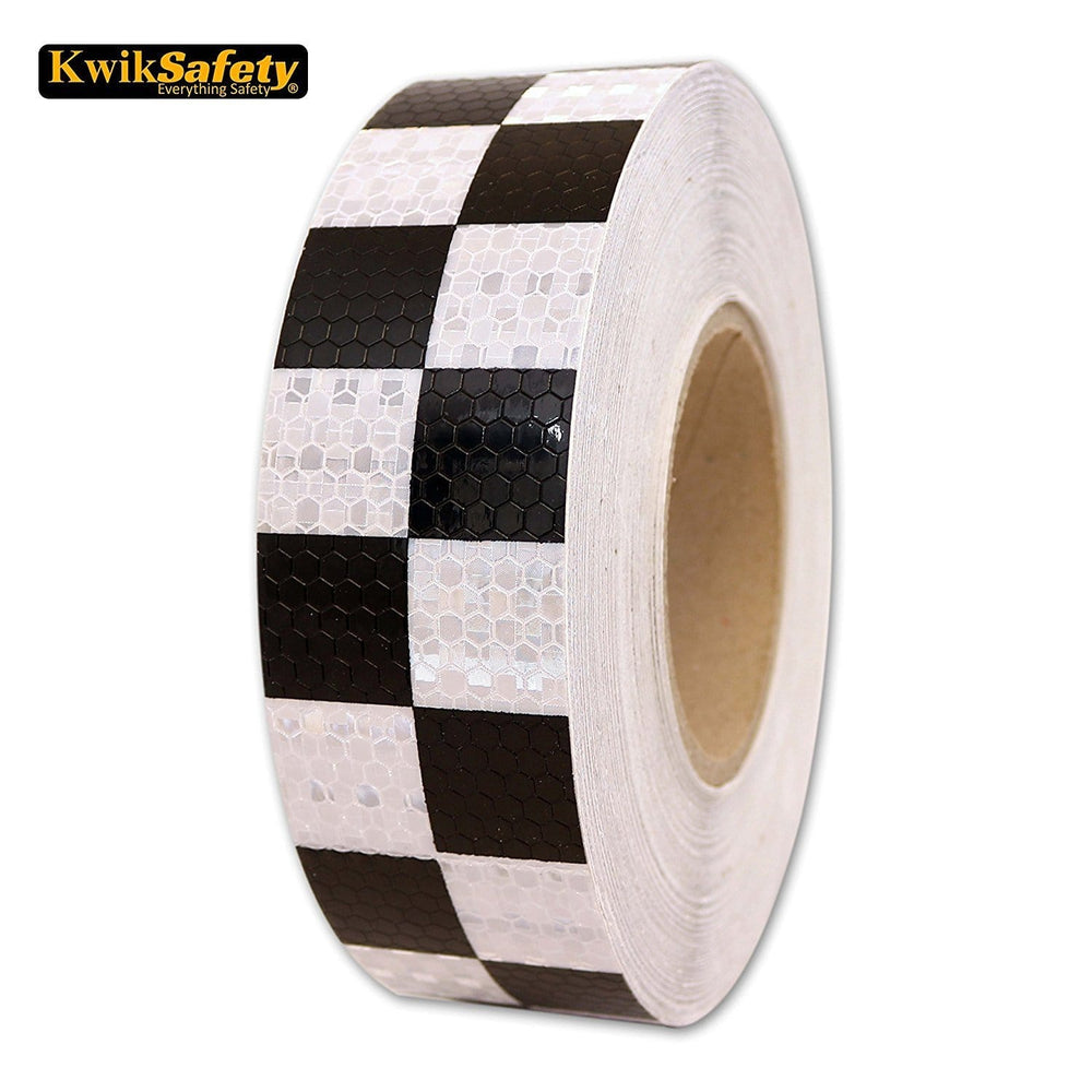 Kwiksafety 2 X 150 Ft Grid Industrial Reflective Tape Black/white Home Improvement