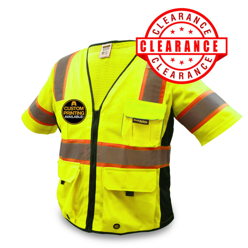 CLEARANCE! KwikSafety EXECUTIVE Hi Vis Reflective ANSI PPE Surveyor Class 3 Safety Vest - Model No.: KS3303 - KwikSafety