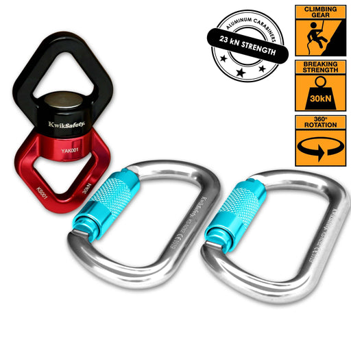 KwikSafety  EXPLORER Aluminium 360° Swivel Connector w/ Aluminum Carabiners - KwikSafety