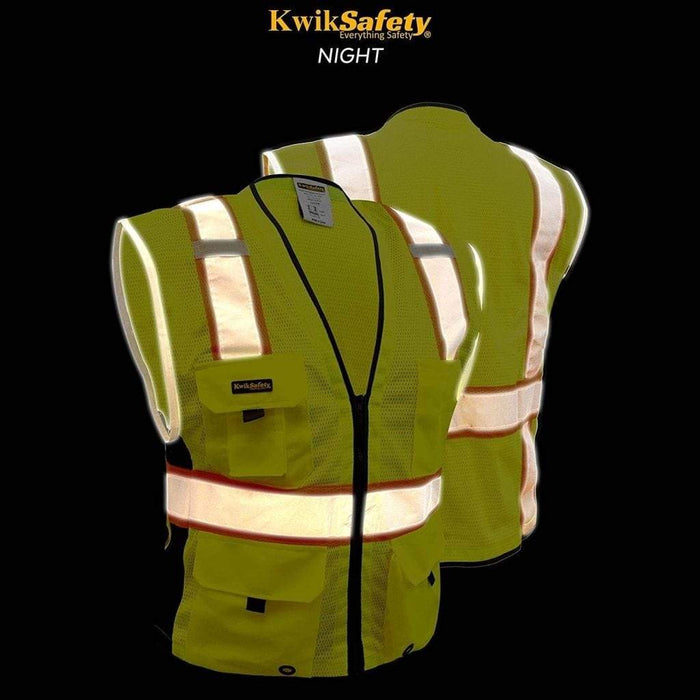 CLEARANCE! KwikSafety BIG KAHUNA Hi Vis Reflective ANSI PPE Surveyor Class 2 Safety Vest- Model No.: KS3301 - KwikSafety