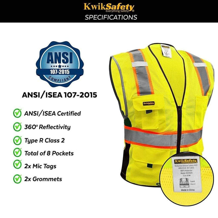 Kwiksafety Big Kahuna Hi Vis Reflective Ansi Ppe Surveyor Class 2 Safety Vest Home Improvement
