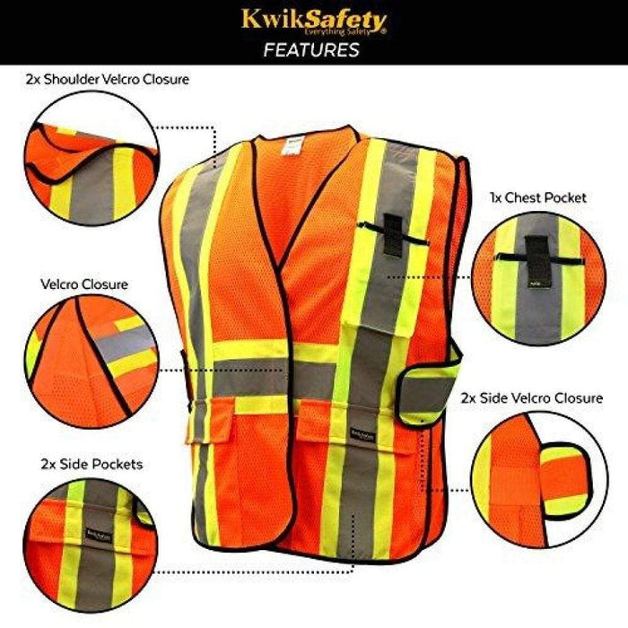 Kwiksafety Capital Hi Vis Reflective Ansi Ppe Breakaway Class 2 Safety Vest Home Improvement