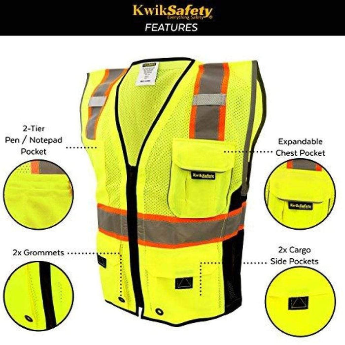 CLEARANCE! KwikSafety CLASSIC Hi Vis Reflective ANSI PPE Surveyor Class 2 Safety Vest - Model No.: KS3302 - KwikSafety