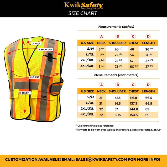 CLEARANCE! KwikSafety ELITE Hi Vis Reflective FR Treated ANSI PPE Breakaway Class 2 Safety Vest - Model No.: KS3316 - KwikSafety