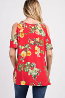 Floral Twisted Hem Cold Shoulder Blouse - Sophie's Boutique