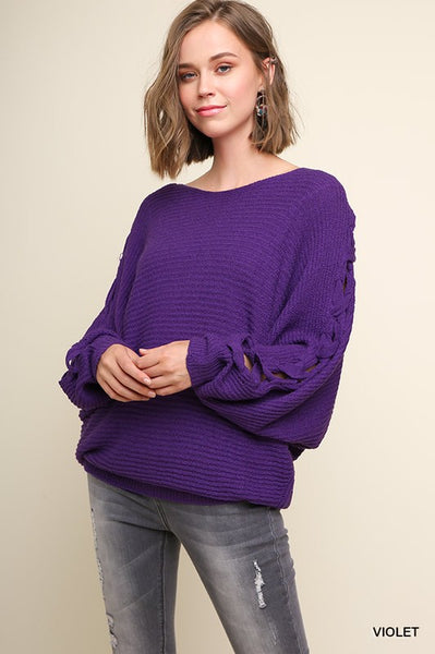 Knit Sweater with CrissCross Sleeves - Sophie's Boutique