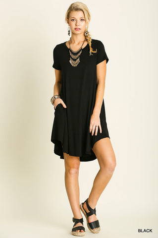 Short Sleeve Tunic Dress with Pockets - Sophie's Boutique