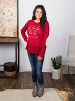 FaLaLaLaLa Sweater with Elbow Patches - Sophie's Boutique