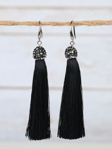 Bling and Tassel Earrings - Sophie's Boutique