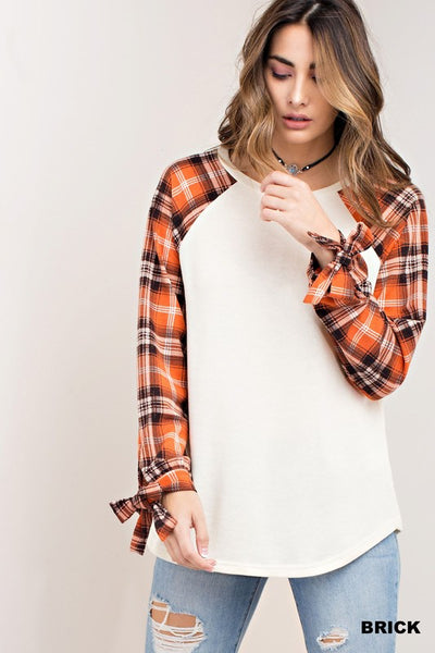 Plaid Sleeve Raglan with Tie Detail - Sophie's Boutique