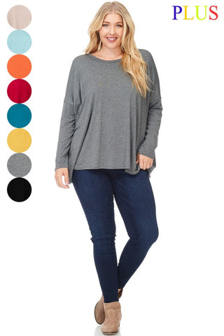 High Low Long Sleeve Tunic PLUS - Sophie's Boutique