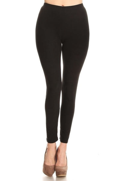 Elastic Waist Full Length Leggings - Sophie's Boutique