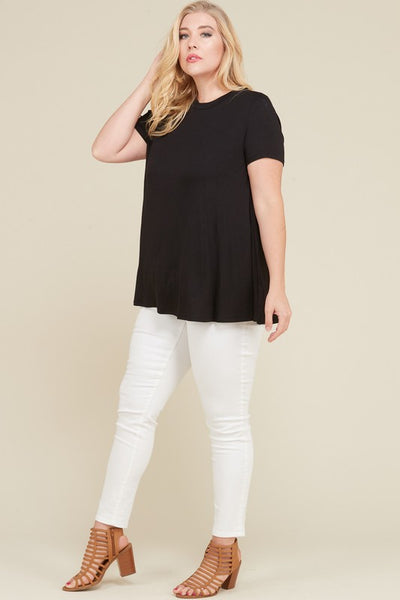 Round Neck Short Sleeve Top PLUS - Sophie's Boutique