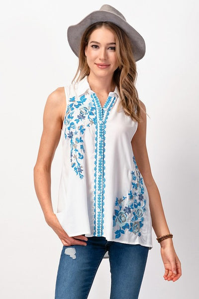 Embroidered Button Down Top - Sophie's Boutique