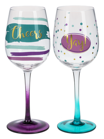 Yay! Stemmed Wine Glasses - Sophie's Boutique