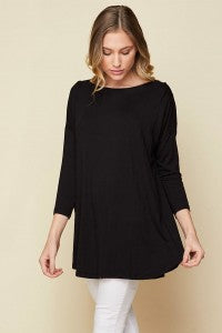 Basic 3/4 Sleeve Tunic PLUS - Sophie's Boutique