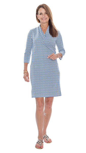 Kimberly Dress - Houndstooth White/Navy