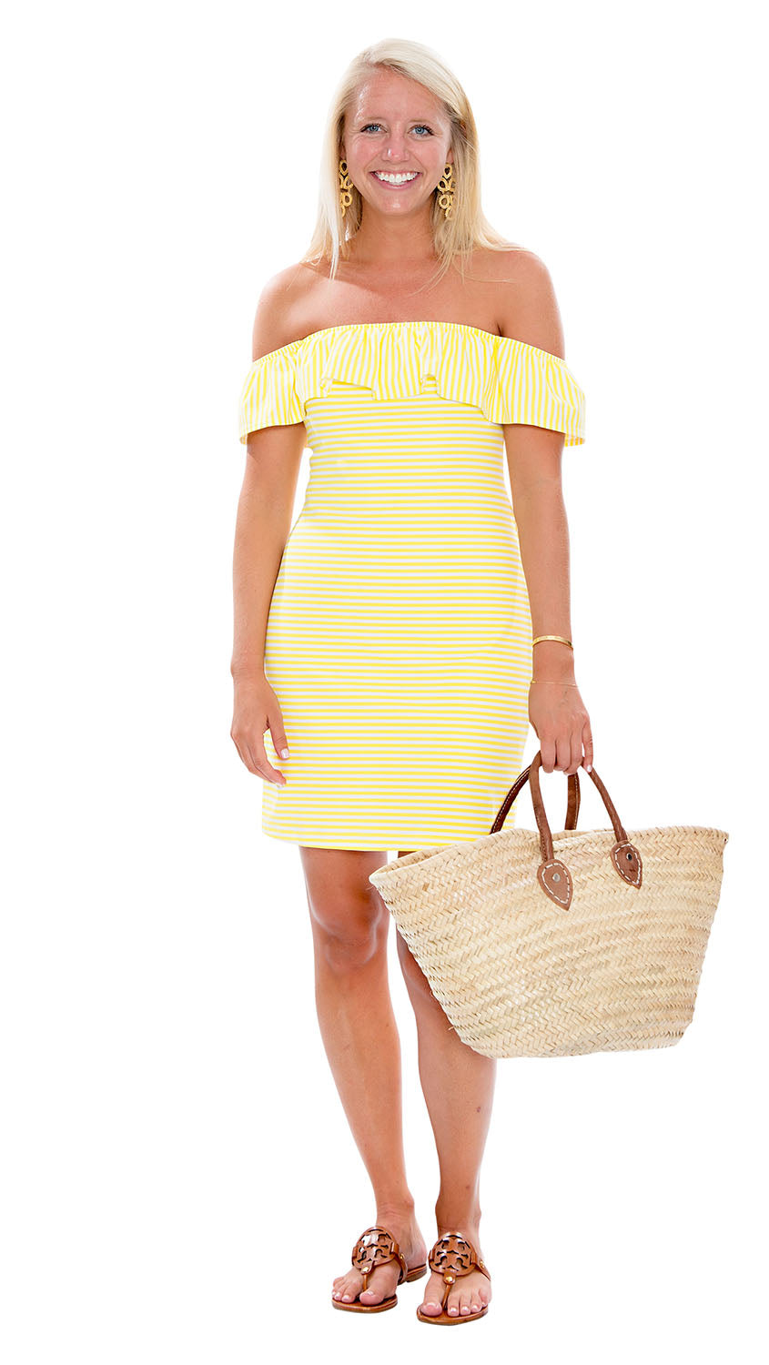 Shoreline Dress - White/Yellow Stripe