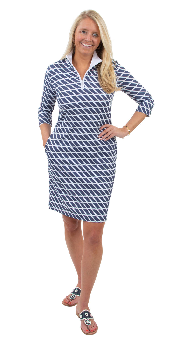 Britt 3/4 Sleeve Dress - Rope Stripe