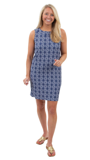 Yacht Club Shift Dress - Summer Knot Navy/White