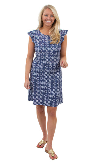 Jojo Dress - Summer Knot Navy/White