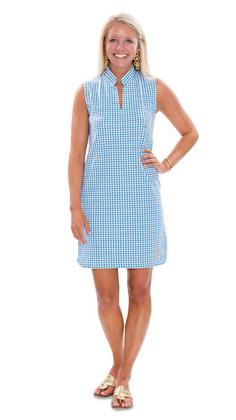 Seaport Shift - Houndstooth Azure Blue/White