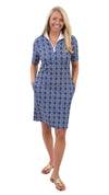 Britt Short Sleeve Dress - Summer Knot Navy/White