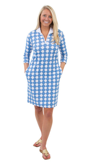 Britt 3/4 Sleeve Dress - Summer Knot Azure/White