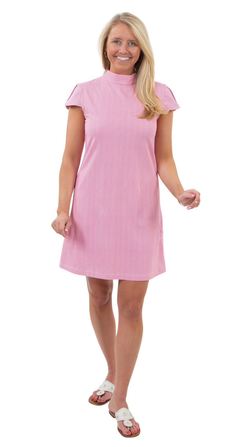 Molly Bow Back Dress - Hot Pink Pinstripe