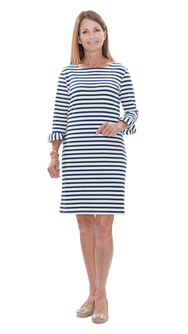 Dockside 3/4 Sleeve - Wide Stripe Navy/White