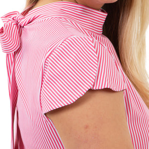 Molly Bow Back Dress - Hot Pink Pinstripe - FINAL SALE