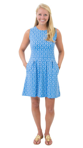 Boardwalk Dress - Azure Blue/White Rope Link