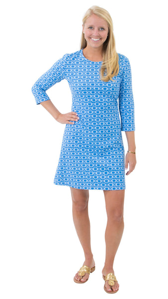 Grace Dress - Azure Blue/White Rope Link