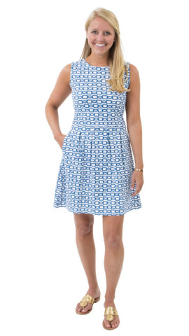 Boardwalk Dress - White/Navy Rope Link