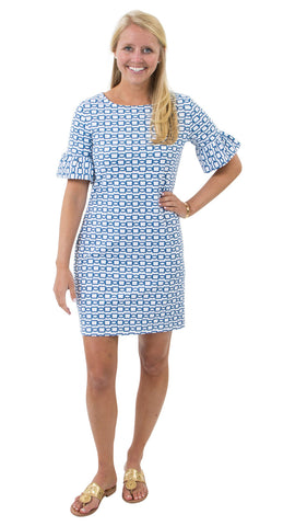 Dockside Dress - White/Navy Rope Link