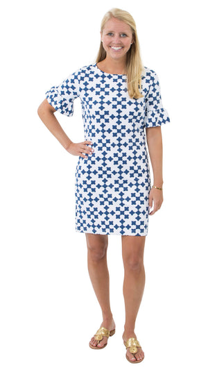Dockside Dress - White/Navy Gems