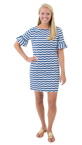 Dockside Dress - White/Navy Wave